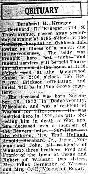Bernhard Krueger obituary, 15 March 1927, Wausau Daily Record-Herald.