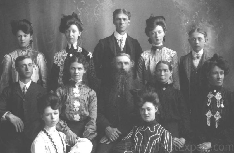 BJÖRN CHRISTIANSON RUKKE FAMILY, CA 1900. TOP ROW, FROM LEFT, CHRISTIAN BENNETT CHRISTIANSON, CLARA BERTINA CHRISTIANSON, INGEBRET B CHRISTIANSON, MARY CHRISTIANSON, AND LENA RANDINA CHRISTIANSON. MIDDLE ROW, RAGNILD CHRISTIANSON, BJÖRN CHRISTIANSON RUKKE, BAREBO ENGEBRETSDTR TORSET, AND JORGINE CAROLINE CHRISTIANSON. BOTTOM ROW, INGA OLINE CHRISTIANSON, BENNETT MAREBO CHRISTIANSON, AND MALINE CHRISTIANSON