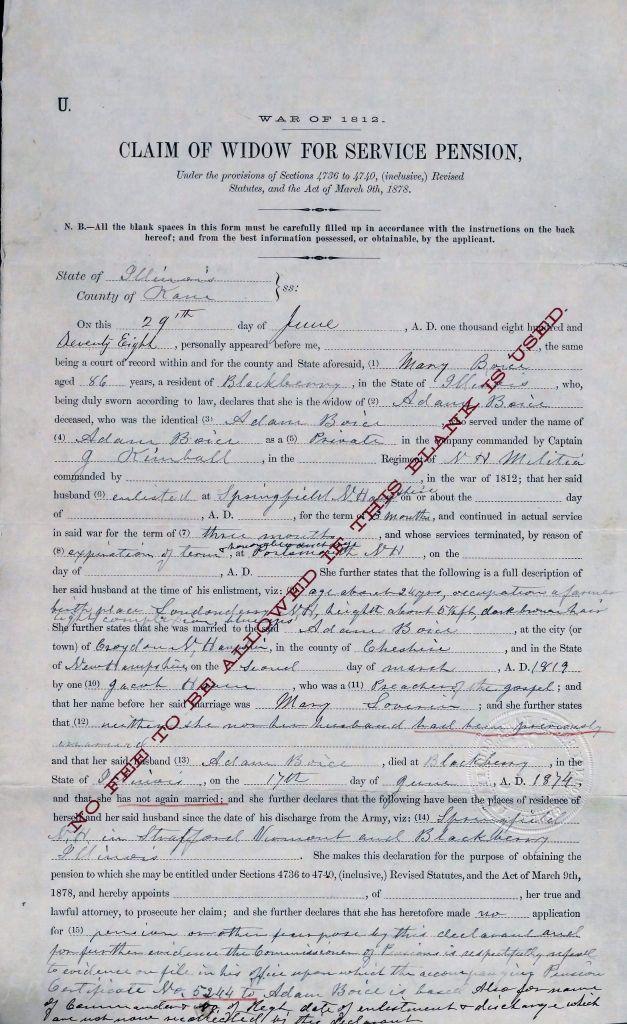 Boyce, pension application.