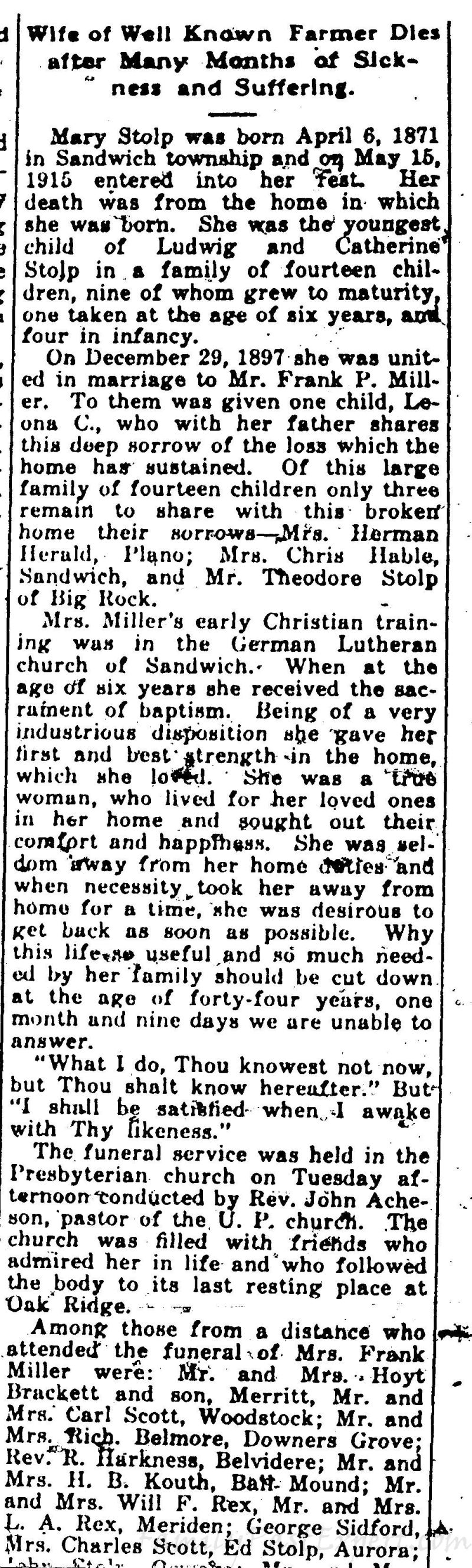Mary Leona Stolp Miller, obituary