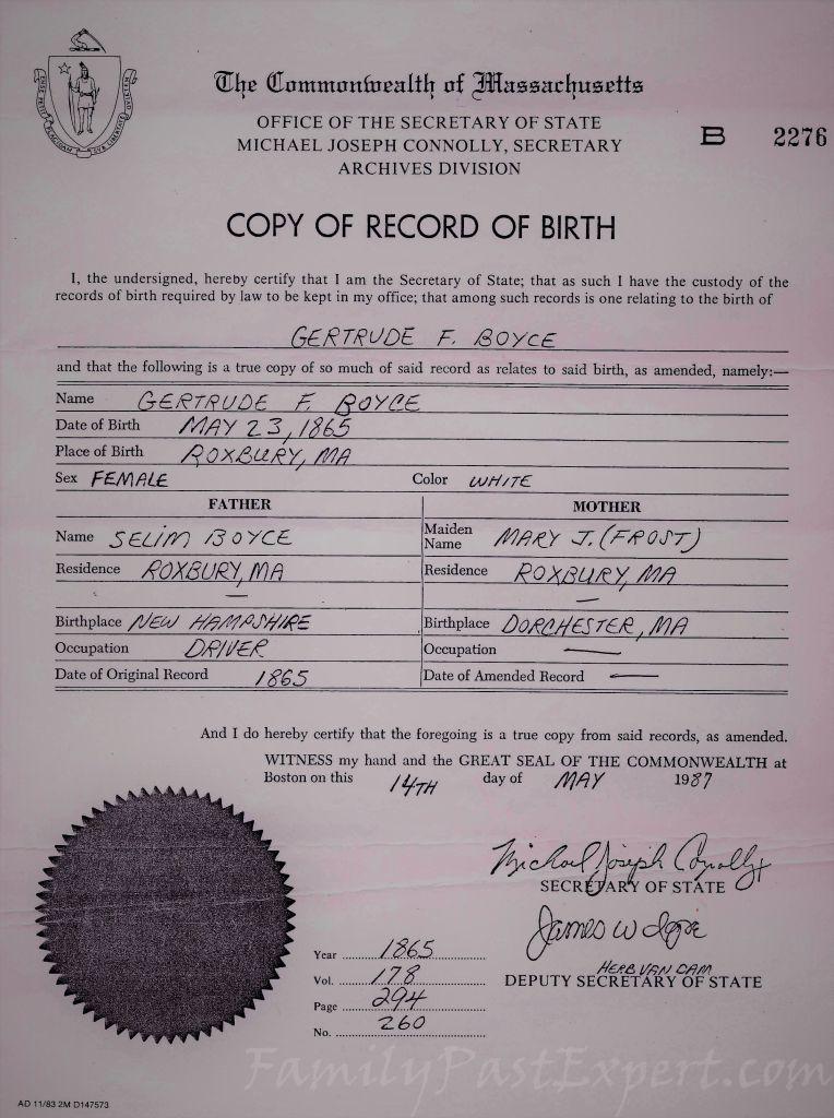 Gertrude Lovin Boyce, birth certificate.