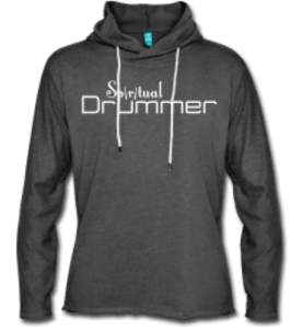 sweat-shirt à capuche spiritual drummer gris logo blanc