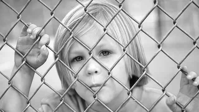 網の中の子供 見つめる