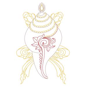 spiritual graphic design, graphisme spirituel, graphisme, spirituel, bien-être, motif, digital artwork, illustration, Inde, conque tibetaine, shankha, auspicious, sign, signes, auspicieux, buddhism, bouddhisme, tibet, dharamshala, 8 signes, astamangala