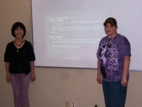 Yayoi and I teaching Japanese Reiki Techniques