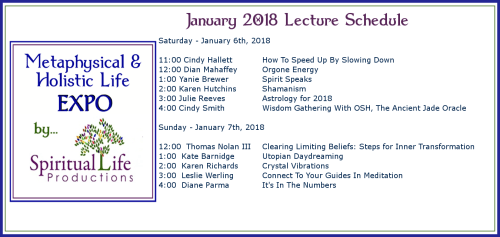 January Metaphysical and Holistic Life EXPO Lecture Schedule 2018
