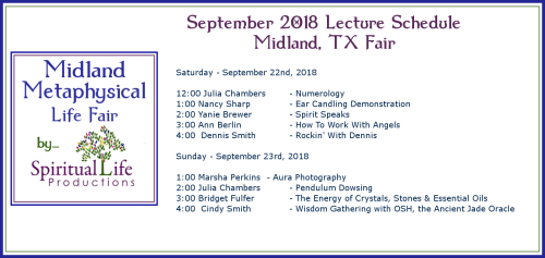 2018 September Midland TX Metaphysical Fair Lecture Schedule