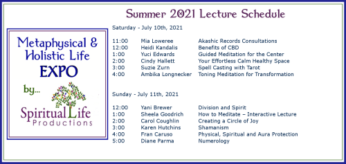 July Metaphysical and Holistic Life EXPO Lecture Schedule 2021