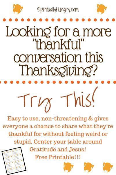 Looking for a way to get your Thanksgiving guests to share what they're thankful for this year? Get help with our FREE printable designed to help your guests share comfortably.