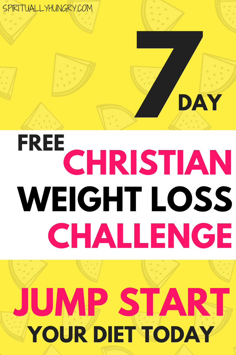 Are you looking for a jump start for your diet? In this 7 day Challenge, you will not only work on your weight loss goals, but also allow God to provide you His guidance, support, and love on your journey. Christian weight loss isn't a quick fix, but it does have lasting change!
