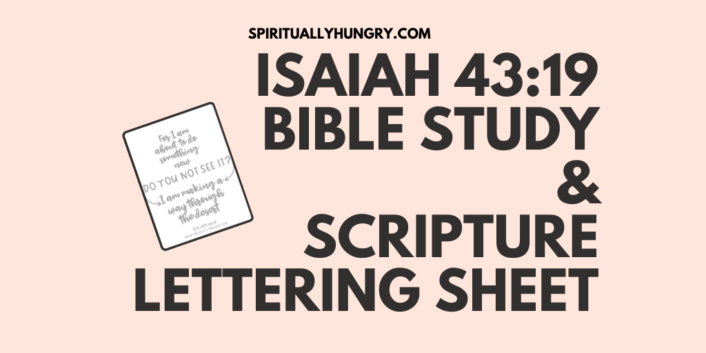 Isaiah 43:19 Bible Study and Scripture Lettering Sheet | Women's Bible Study | Women's Devotion