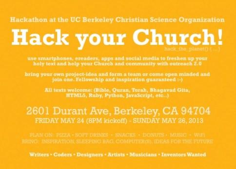 Hack Your Church! postcard back