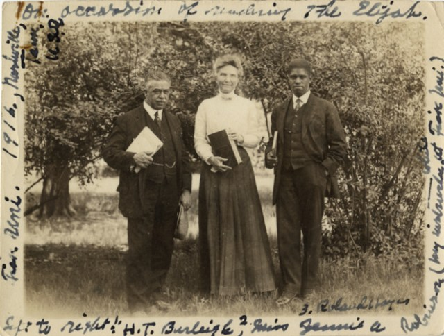 Photograph of baritone and composer H.T. Burleigh (left), tenor and composer Roland Hayes, withwith Jennie A. Robinson at Fisk University - Source: Detroit Public Library online digital collection from the Hackley collection