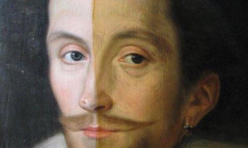 17世紀の油絵の汚れを半分落とした