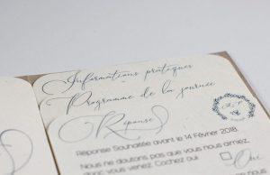 Margot & Pierre, intérieur pochette, feuillet, faire-part mariage su rmesure, kraft, enfance, bleu, calligraphie, spiritus naturae