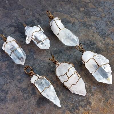 Clear Quartz Crystal Pendants