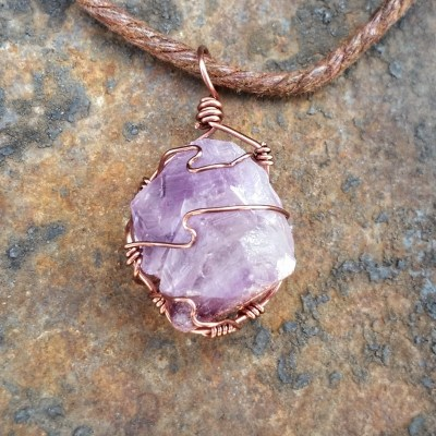 Amethyst Wire Wrapped Crystal Pendant