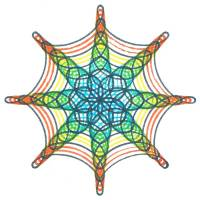 8-pointed Spirograph design made with wheel 84
