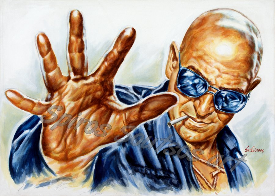 "Telly Savalas painting portrait ""Diamond Mercenaries, aka Killer Force"" 1976 original movie poster artwork"