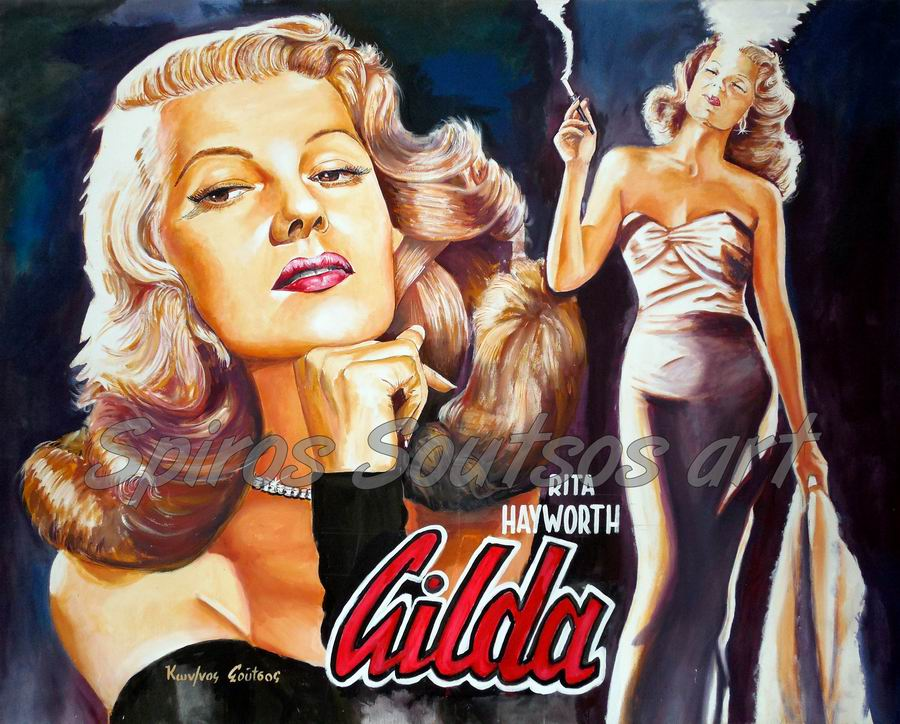 Gilda painting movie poster, Rita Hayworth portrait original art