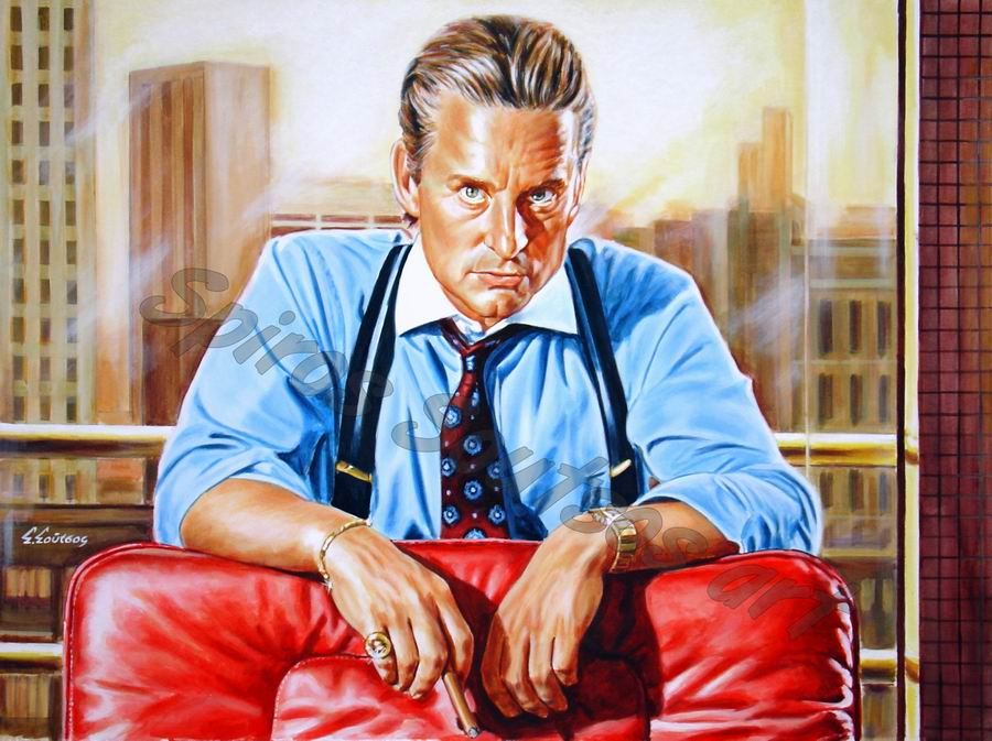 "Michael Douglas painting portrait, ""Wall Street"" painted movie poster art"