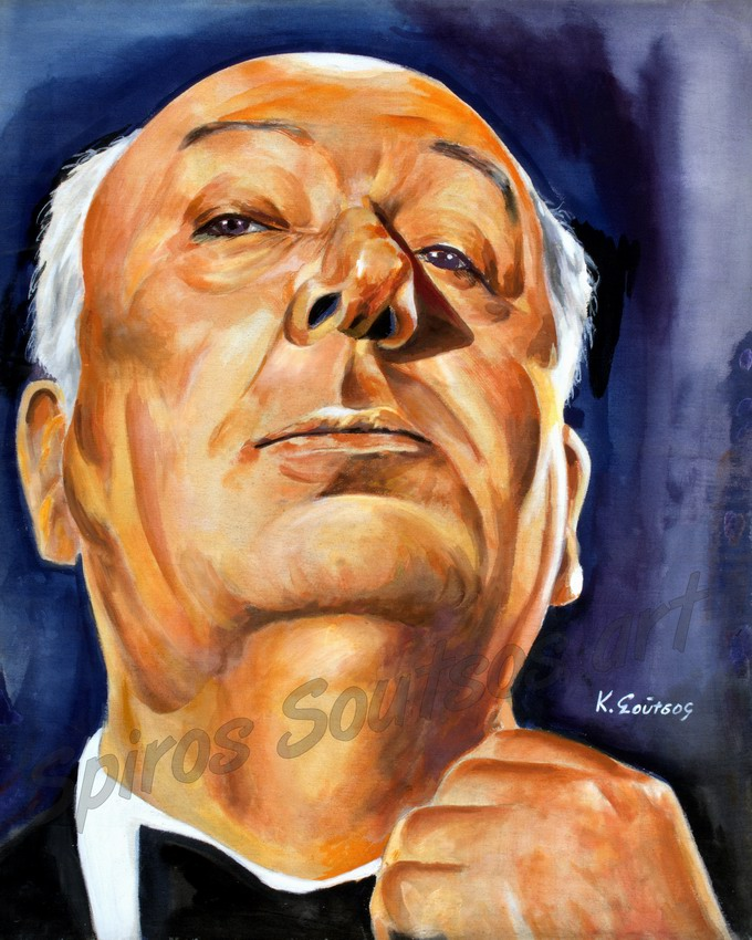 Alfred Hitchcock painting portrait, original hand-painted poster art