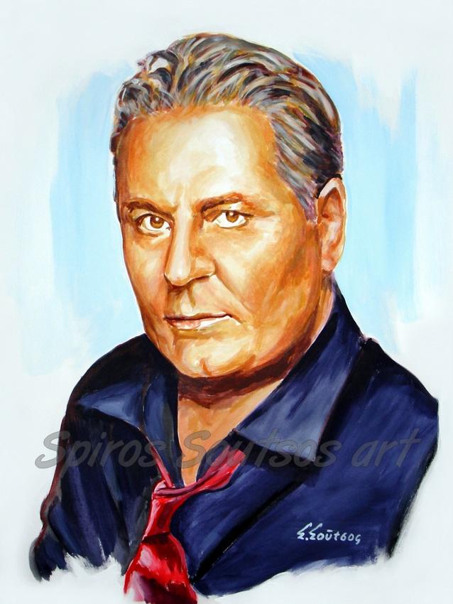 Ζαφείρης Μελάς πορτραίτο-αφίσα, αυθεντικός πίνακας ζωγραφικής, πόστερ