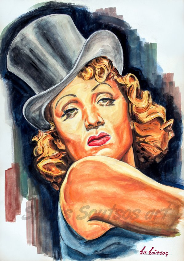"Marlene Dietrich portrait painting, ""Der Blaue Engel / The Blue Angel"" 1930 movie poster"