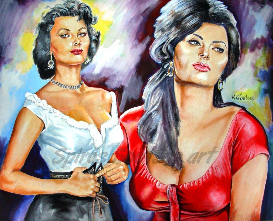 Sophia Loren painting portrait, movie poster