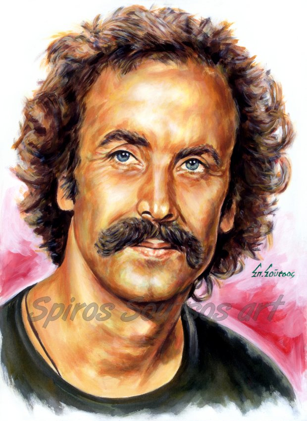 Nikos Xylouris / Νίκος Ξυλούρης πορτραίτο αφίσα, αυθεντικός πίνακας ζωγραφικής, πόστερ