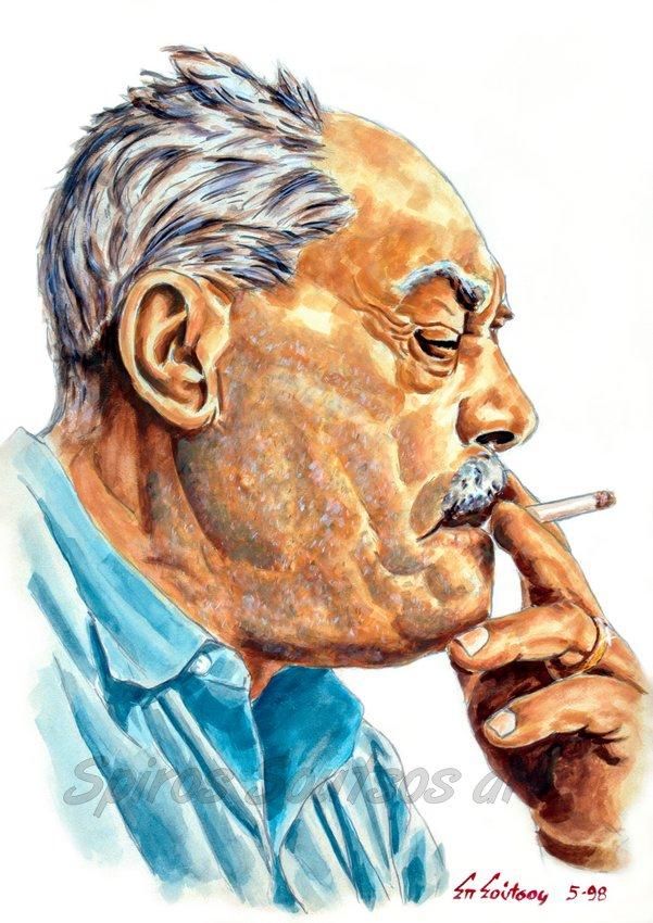 Markos Vamvakaris / Μάρκος Βαμβακάρης πορτραίτο αφίσα, αυθεντικός πίνακας ζωγραφικής