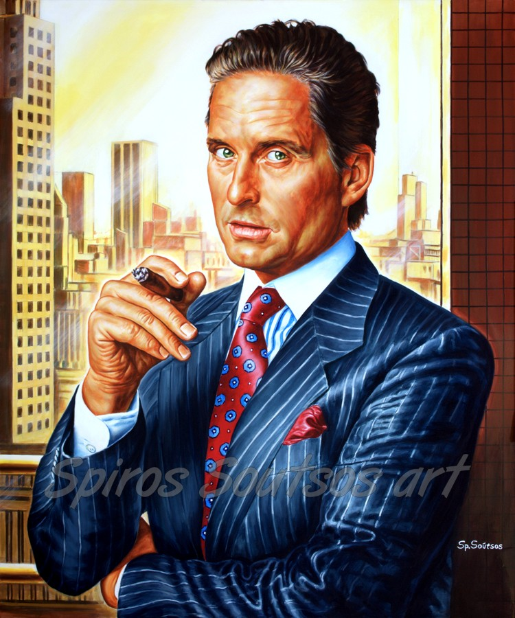 "Gordon Gekko painting, Michael Douglas portrait, ""Wall Street"" 1987 movie poster"