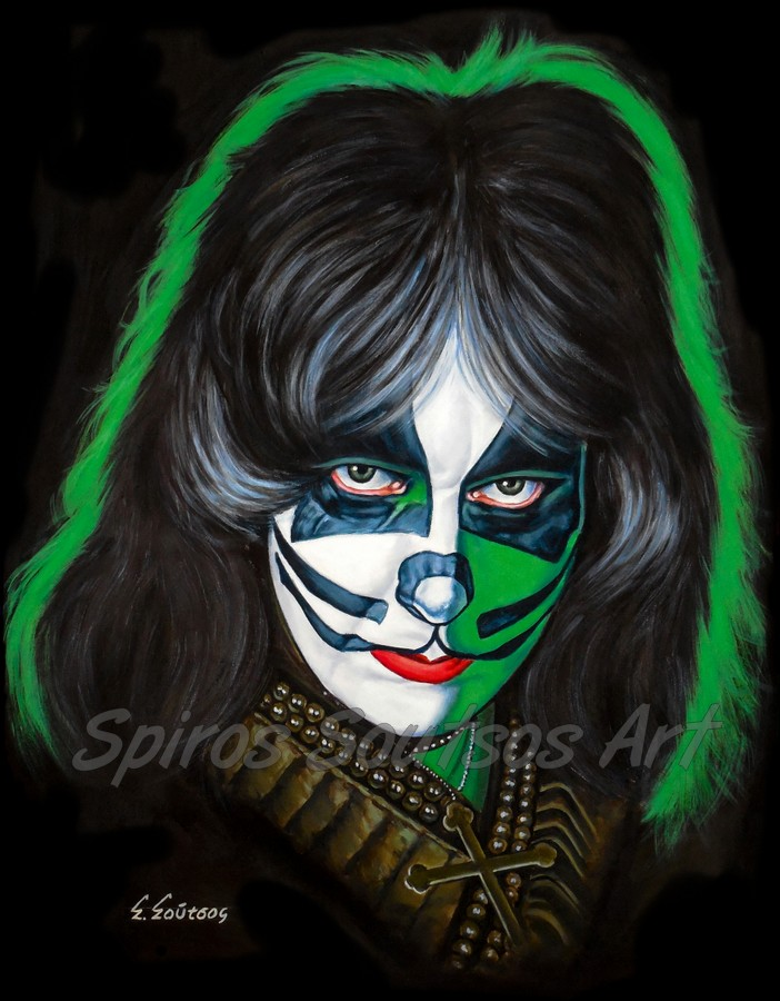 Peter Criss painting portrait, KISS poster