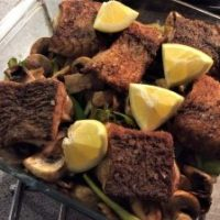Lækker kulmulefilet i ovn med grønt.