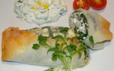 Spinatpai med  fetaost og chiafrø