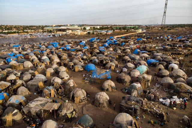 FILE - An aerial shows an internally displaced persons camp in Faladie, Mali, where nearly 800 IDPs have found refuge after fleeing intercommunal violence, on May 14, 2019.