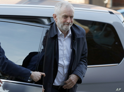 FILE - Britain's Labour Party leader Jeremy Corbyn arrives for a general election campaign in London, Britain, Oct. 31, 2019.