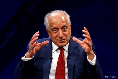 FILE - U.S. envoy for peace in Afghanistan Zalmay Khalilzad speaks during a debate at Tolo TV channel in Kabul, Afghanistan, April 28, 2019.