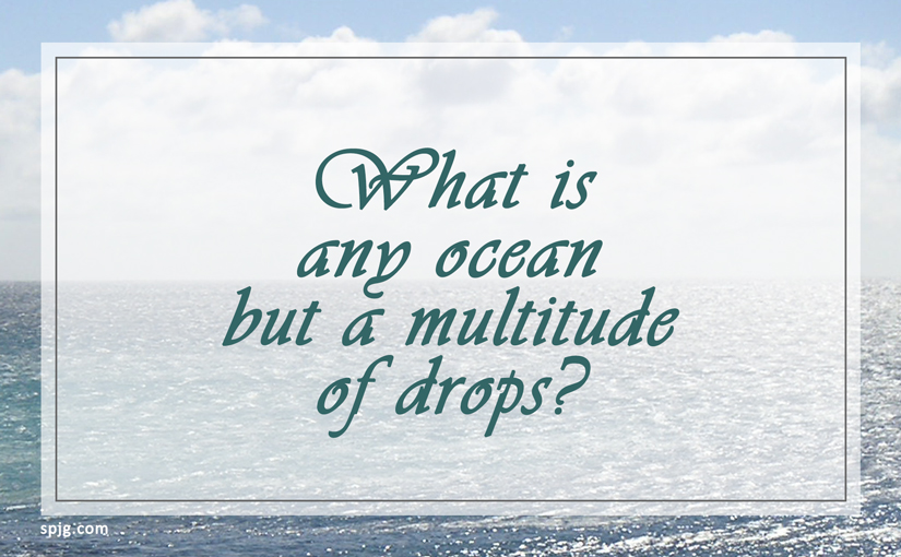 What is any ocean but a multitude of drops?