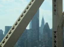 The first of many glimpses of the Chrysler Building greets us as we enter Manhattan.
