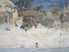 Ramayana mural, damaged.