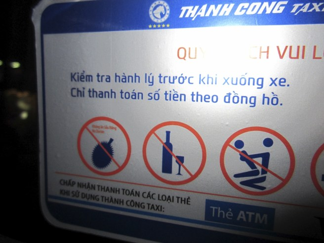 In taxis, do not bring durians, drink alcohol or... wait, they have a sign for that???
