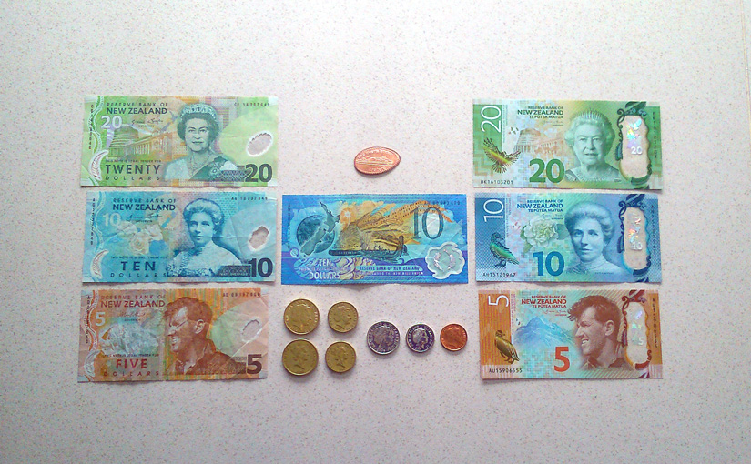 Bills and coins from New Zealand