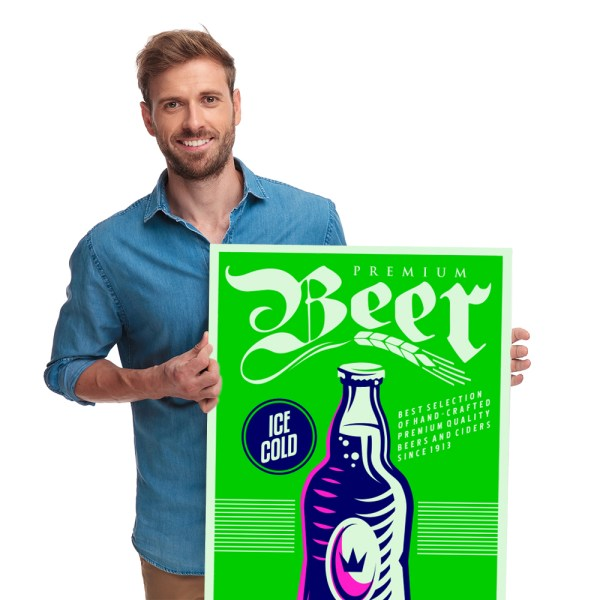 happy casual man holding a Beer Poster