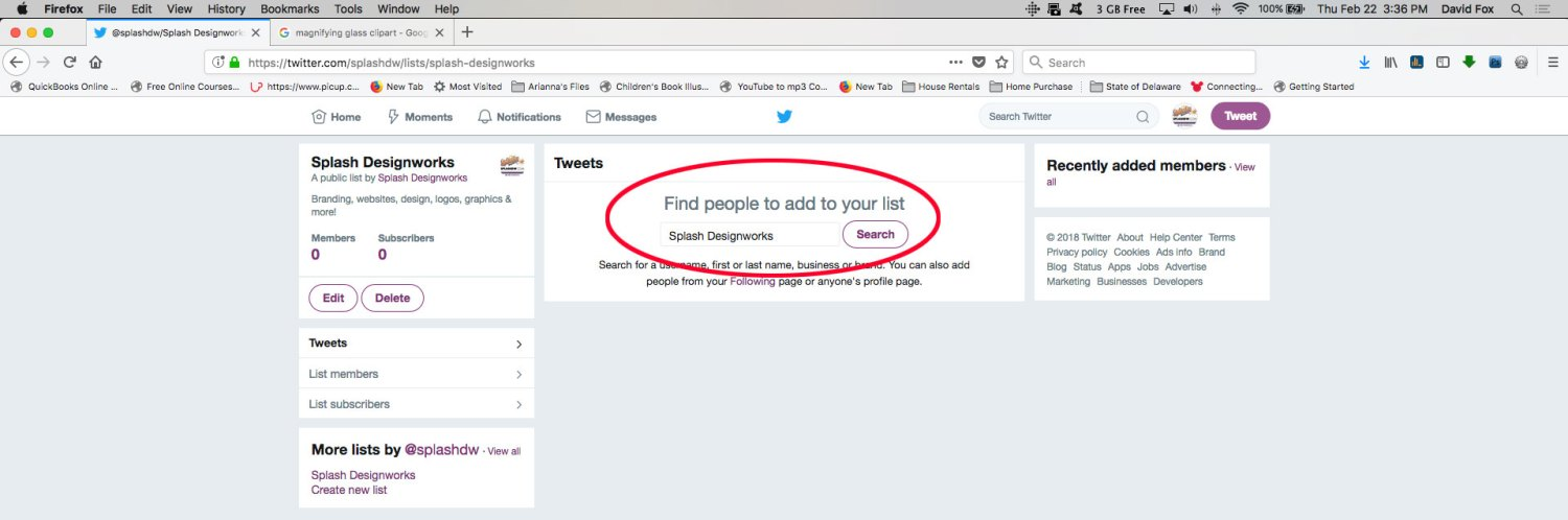 Step 6 for creating a Twitter list: Add.