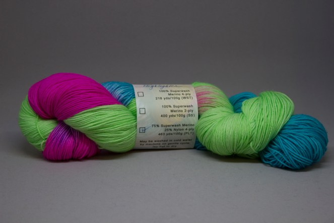 Highligher fingering weight yarn