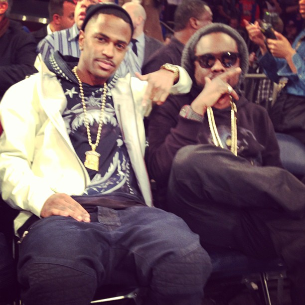 Big Sean Amp Wale Wearing Givenchy Hoodie At A Knicks Game
