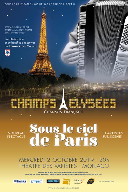 affiche spectacle CHAMPS Élysées chanson Français : sous le ciel de Paris