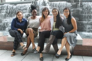The 2016-17 inaugural class of Active Voice fellows during a pre-fellowship training in Chicago. From left to right, Nashwa Bawab, Darlene Aderoju, Shine Cho, Sindhu Ravuri and Sophie Gordon. Photo courtesy of Frank LoMonte.
