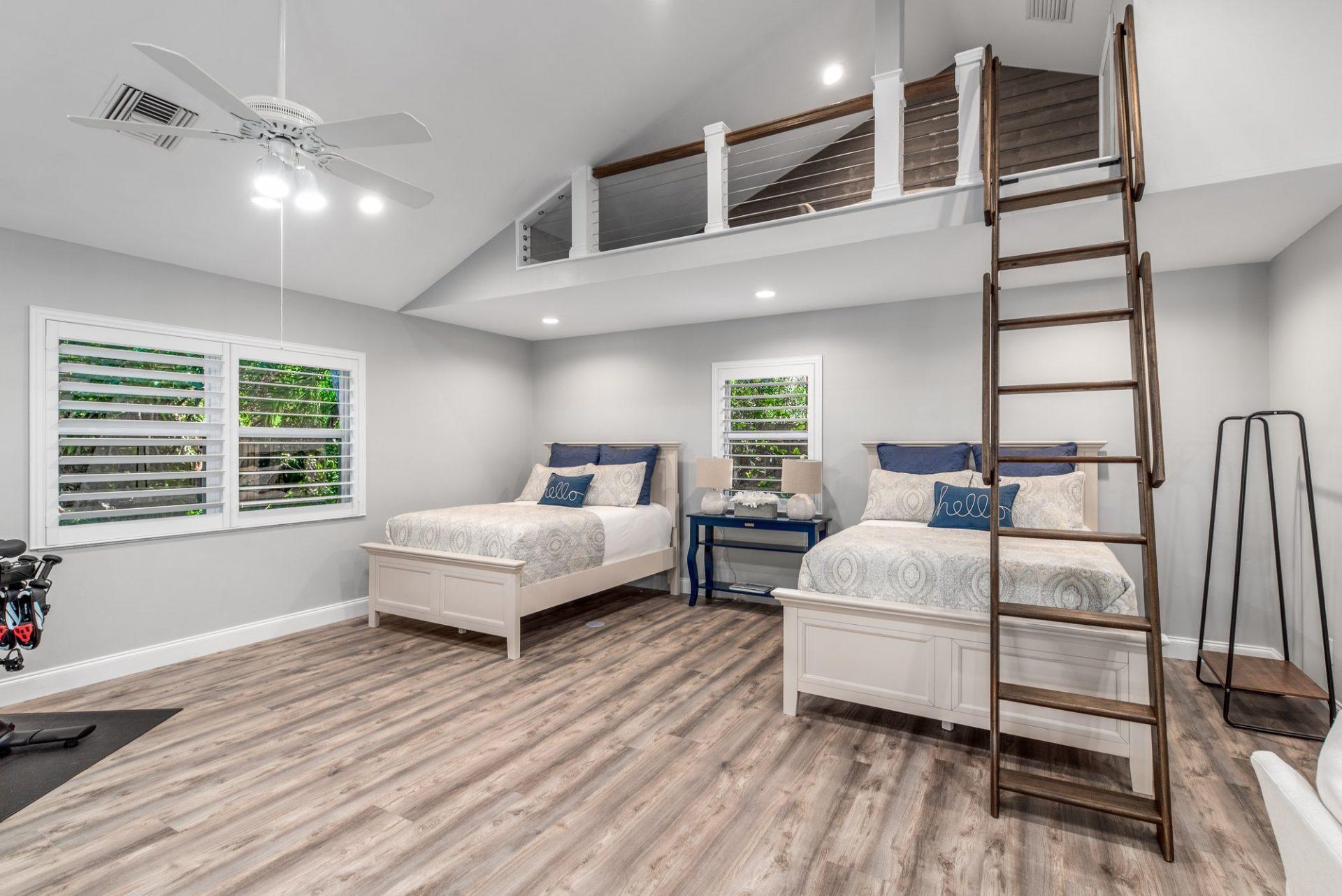 Moody Manor | Guest Bedroom with Loft